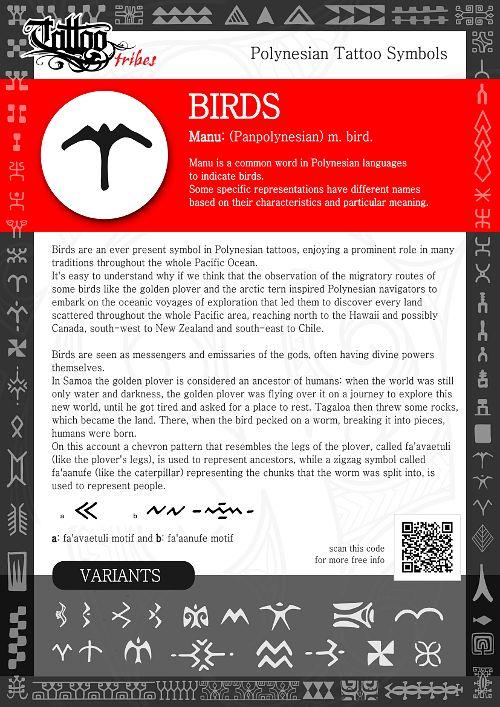 Polynesian Tattoo Symbols explained: birds